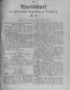 Amtsblatt der Königlichen Preussischen Regierung zu Bromberg. 1889.11.08 No.45