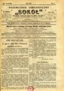 """Przewodnik Gimnastyczny """"Sokół"""": organ Dzielnicy Małopolskiej Związku Polskich Gimnastycznych Towarzystw Sokolich 1921.05 R.38 Nr5"""