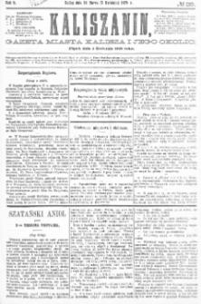Kaliszanin: gazeta miasta Kalisza i jego okolic 1878.04.05 Nr28