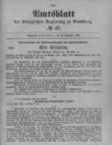Amtsblatt der Königlichen Preussischen Regierung zu Bromberg. 1899.11.23 No.47