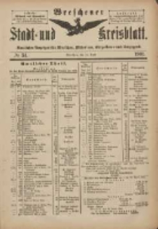 Wreschener Stadt und Kreisblatt: amtlicher Anzeiger für Wreschen, Miloslaw, Strzalkowo und Umgegend 1901.04.24 Nr34