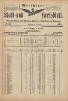 Wreschener Stadt und Kreisblatt: amtlicher Anzeiger für Wreschen, Miloslaw, Strzalkowo und Umgegend 1901.10.09 Nr84