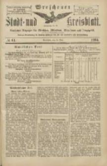Wreschener Stadt und Kreisblatt: amtlicher Anzeiger für Wreschen, Miloslaw, Strzalkowo und Umgegend 1904.05.28 Nr61