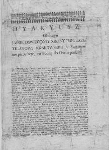 Dyaryusz obłóczny Jaśnie Oświeconey Xięzny JMCI Kasztelanowy Krakowskiey in Supplementum pierwszego, na Pocztę do Druku podany