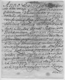 Dokument z 1758 roku