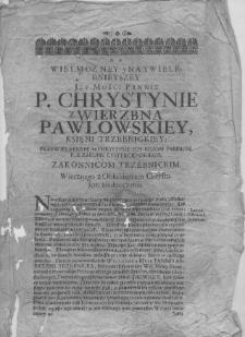 List ks. Stanisława Sannera do ksieni Trzebnickiej Krystyny Pawłowskiej z Wierzbna