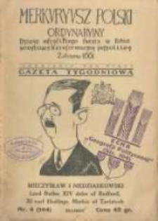 Merkuryusz Polski Ordynaryiny: dzieie wszystkiego świata w sobie zamykaiący dla informacyey pospolitey. 1937.01.31 Nr4