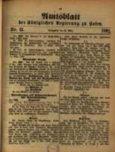 Amtsblatt der Königlichen Regierung zu Posen. 1892.03.22 Nro.12