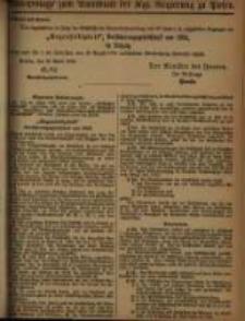 Extra - Beilage zum Amtsblatt der Königlichen Regierung zu Posen