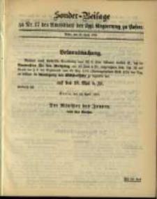 Sonder- Beilage zu Nr. 17 des Amtsblatt der Kgl. Regierung zu Posen