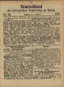 Amtsblatt der Königlichen Regierung zu Posen. 1891.09.22 Nro.38