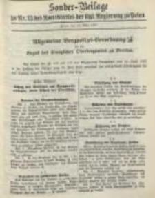 Sonder- Beilage zu Nr. 13 des Amtsblatt der Kgl. Regierung zu Posen