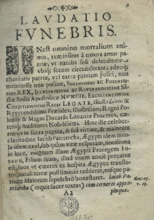 Laudatio funebris [...] Poloniae et Sveciae regis Joannis Casimiri. Dicta in ecclesia cathedrali Cracovien. ab [...] episcopo. Anno [...] 1676