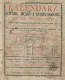Kalendarz Polski, Ruski i Gospodarski na Rok Pański 1815 dla Wielkiego Xięstwa Poznańskiego : który jest rokiem zwyczaynym maiącym dni 365