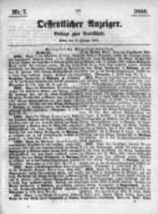 Oeffentlicher Anzeiger. Beilage zum Amtsblatt. Nr.7. 1885