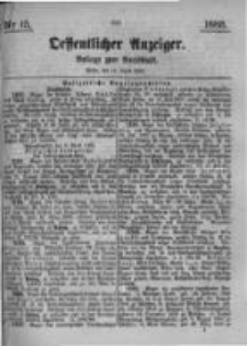 Oeffentlicher Anzeiger. Beilage zum Amtsblatt. Nr.15. 1885