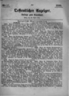 Oeffentlicher Anzeiger. Beilage zum Amtsblatt. Nr.17. 1885