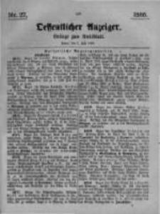 Oeffentlicher Anzeiger. Beilage zum Amtsblatt. Nr.27. 1885
