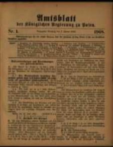 Amtsblatt der Königlichen Regierung zu Posen. 1908.01.07 Nro.1