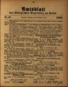 Amtsblatt der Königlichen Regierung zu Posen. 1908.11.24 Nro.47