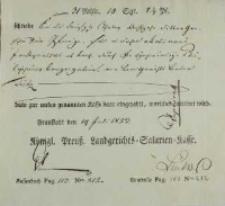 Dokument Köningliche Preussen Landgerichts Salerien Kasse, 19.07.1823