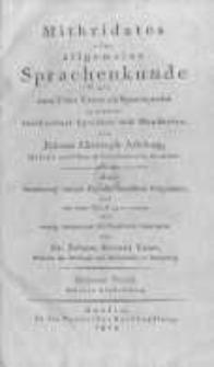 Mithridates oder allgemeine Sprachenkunde mit dem Vater Unser als Sprachprobe in bey nahe fünfhundert Sprachen und Mundarten. T.3 Abht.2