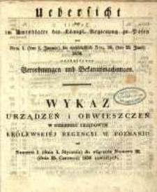 Wykaz urządzeń i obwieszczeń w Dzienniku Urzędowym Królewskiey Regencyi w Poznaniu od Nr. 1. (dnia 1. Stycznia) aż do włącznie Nr. 26. (dnia. 25. Czerwca) 1850 zawartych.