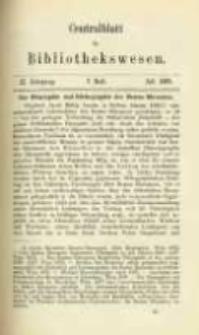 Centralblatt für Bibliothekswesen. 1885.07 Jg.2 heft 7