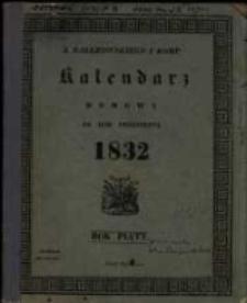 Kalendarz Domowy na Rok Przestępny 1832 maiący dni 366