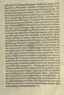 De re aedificatoria. Cum additione Baptistae Siculi. Ed. Angelus Politianus