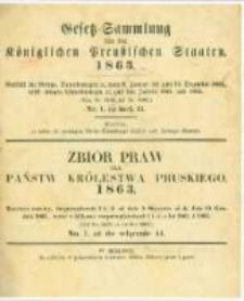 Gesetz-Sammlung für die Königlichen Preussischen Staaten. 1863.01.27 No1