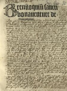 Breviloquium sancti Bonauenture de ordine minorum