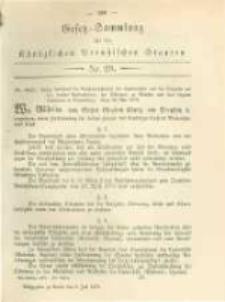 Gesetz-Sammlung für die Königlichen Preussischen Staaten. 1879.07.06 No29
