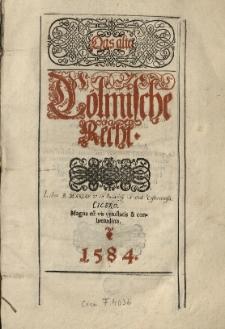 Das Alte Cölmische Recht [wyd. Heinrich Stroband]