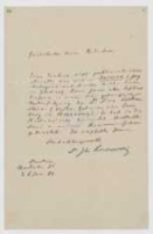 List Józefa Ignacego Kraszewskiego do NN z 6 stycznia 1880 roku