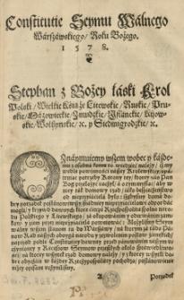 Constitutie Seymu Walnego Warszawskiego / roku [...] 1578