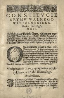 Constitucie seymu walnego warszawskiego roku [...] 1590 [rz.]