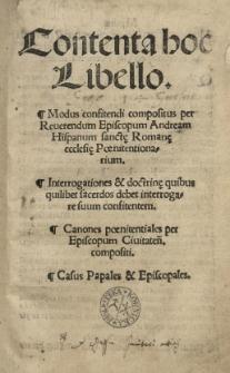 Contenta hoc libello. Modus confitendi compositus per [...] Andream Hispanum