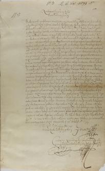 List Konstantego X Ostroskiego do króla Zygmunta III, 26.10.1599
