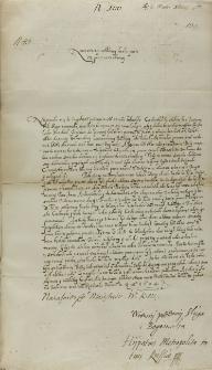 List Adama Pocieja metropolity kijowskiego do krola Zygmunta III, Różanka 02.03.1604