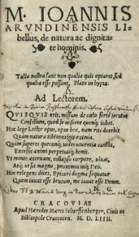 [...] Joannis Arundinensis Libellus de natura ac dignitate hominis [...]