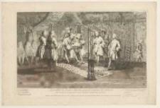 Assemblée de Francs-Maçons pour la Reception des Maitres: On couche le Recipiendaire sur le Cercueil dessiné dans la Loge