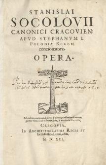 Stanislai Socolovii [...] Opera