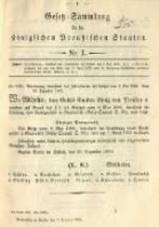 Gesetz-Sammlung für die Königlichen Preussischen Staaten. 1891.01.07 No1
