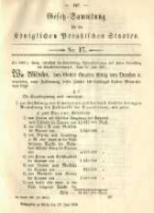 Gesetz-Sammlung für die Königlichen Preussischen Staaten. 1891.06.27 No17