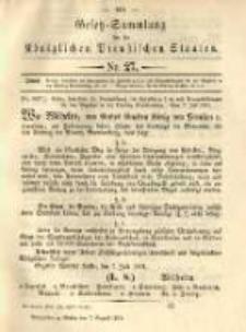 Gesetz-Sammlung für die Königlichen Preussischen Staaten. 1891.08.07 No27