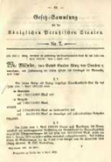 Gesetz-Sammlung für die Königlichen Preussischen Staaten. 1892.04.04 No7