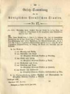 Gesetz-Sammlung für die Königlichen Preussischen Staaten. 1892.06.21 No17