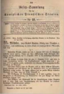 Gesetz-Sammlung für die Königlichen Preussischen Staaten. 1899.07.22 No21