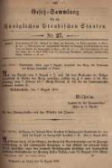 Gesetz-Sammlung für die Königlichen Preussischen Staaten. 1899.08.31 No27